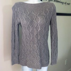 The Loft Tan Cable Long Sleeve Sweater